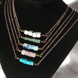 Jewelry - Natural stone bar choker necklace